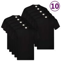 Fruit of the Loom T-shirt Original 10 τεμ. Μαύρα 4XL Βαμβακερά