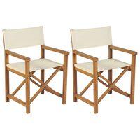 vidaXL Καρέκλες Σκηνοθέτη Πτυσσόμενες 2 τεμ. από Μασίφ Ξύλο Teak