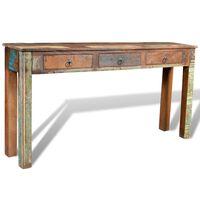 vidaXL Κονσόλα Τραπέζι με 3 Συρτάρια Γκρι από Ανακυκλωμένο Ξύλο