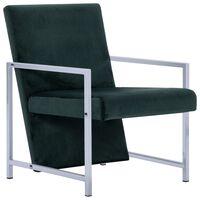 vidaXL Πολυθρόνα Σκούρο Πράσινο Βελούδινη με Πόδια Χρωμίου