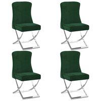 vidaXL Καρέκλες Τραπεζαρίας 4 τεμ. Πράσινο 53x52x98εκ. Βελ./Αν. Ατσάλι