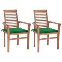 vidaXL Dining Chairs 2 pcs with Green Cushions Solid Teak Wood (44664+314012)