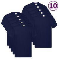 Fruit of the Loom T-shirt Original 10 τεμ. Ναυτικό Μπλε 4XL Βαμβακερά