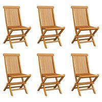 vidaXL Καρέκλες Εξωτερικού Χώρου Πτυσσόμενες 6 τεμ. Μασίφ Ξύλο Teak