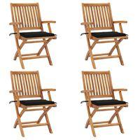 vidaXL Καρέκλες Κήπου Πτυσσόμενες 4 τεμ. Μασίφ Ξύλο Teak με Μαξιλάρια