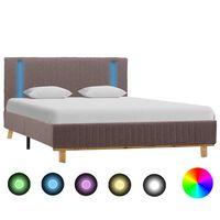 vidaXL Πλαίσιο Κρεβατιού με LED Χρώμα Taupe 120 x 200 εκ. Υφασμάτινο