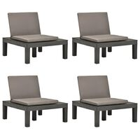 vidaXL Καρέκλες Κήπου 4 τεμ. Ανθρακί Πλαστικές με Μαξιλάρια