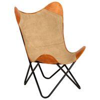 vidaXL Καρέκλα Πεταλούδα Καφέ από Γνήσιο Δέρμα και Καραβόπανο