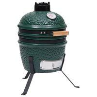 vidaXL Ψησταριά Καπνιστήριο Kamado 2 σε 1 Πράσινη 56 εκ. Κεραμική