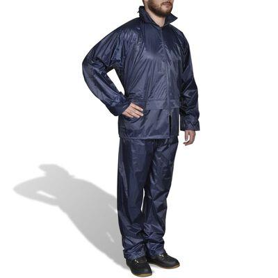 Σετ Ανδρικό Αδιάβροχο με Κουκούλα Μπλε Σκούρο Μ
