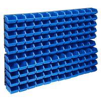 vidaXL Σκαφάκια Αποθήκευσης Σετ 128 τεμ. Μπλε/Μαύρα με Πάνελ Τοίχου