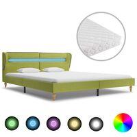 vidaXL Κρεβάτι με LED Πράσινο 160 x 200 εκ. Υφασμάτινο με Στρώμα