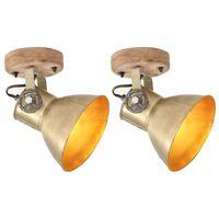 vidaXL Φωτιστικά Τοίχου/Οροφής Industrial 2 τεμ. Μπρονζέ 20x25 εκ. Ε27