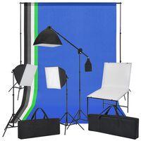 vidaXL Κιτ Φωτογράφισης με Shooting Table, Φωτιστικά και Φωτογρ. Φόντα