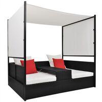 vidaXL Ξαπλώστρα - Κρεβάτι Μαύρο 190x130 εκ. Συνθετ. Ρατάν με Σκίαστρο