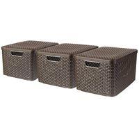 Curver Κουτιά Αποθήκευσης με Καπάκια Style 3 τεμ Καφέ Μέγεθος L 240651