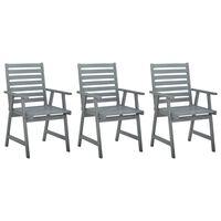 vidaXL Καρέκλες Τραπεζαρίας Εξωτ. Χώρου 3 τεμ. Γκρι Μασίφ Ξύλο Ακακίας