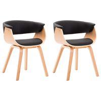 vidaXL Καρέκλες Τραπεζαρίας 2 τεμ. Μαύρες Λυγισμ. Ξύλο/Συνθετικό Δέρμα