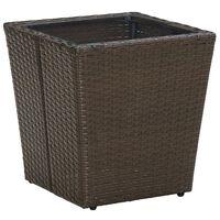 vidaXL Τραπέζι Βοηθητικό Καφέ 41,5x41,5x44 εκ. Συνθ.Ρατάν/Ψημένο Γυαλί