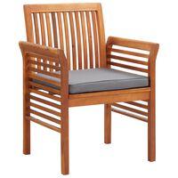vidaXL Καρέκλες Τραπεζαρίας Κήπου 3 τεμ Μασίφ Ξύλο Ακακίας + Μαξιλάρια