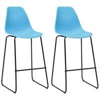 vidaXL Καρέκλες Μπαρ 2 τεμ. Μπλε Πλαστικές