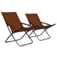 vidaXL Καρέκλες Παραλίας Πτυσσόμενες 2 τεμ. Καφέ Υφασμάτινες