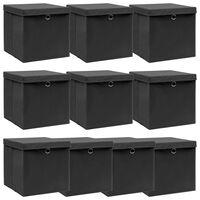 vidaXL Κουτιά Αποθήκευσης με Καπάκια 10 τεμ. Μαύρα 32x32x32 εκ. Ύφασμα