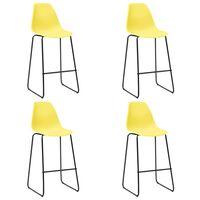 vidaXL Καρέκλες Μπαρ 4 τεμ. Κίτρινες Πλαστικές