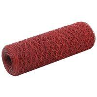 vidaXL Συρματόπλεγμα Εξάγωνο Κόκκινο 25x0,5 μ. Ατσάλι με Επικάλυψη PVC