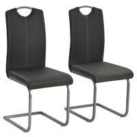 vidaXL Καρέκλες Τραπεζαρίας «Πρόβολος» 2 τεμ. Γκρι από Συνθετικό Δέρμα