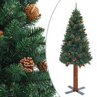 vidaXL Χριστουγεννιάτικο Δέντρο Slim Πράσινο 210 εκ. Ξύλο/Κουκουνάρια