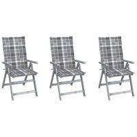 vidaXL Καρέκλες Κήπου Ανακλινόμενες 3 τεμ. Ξύλο Ακακίας με Μαξιλάρια