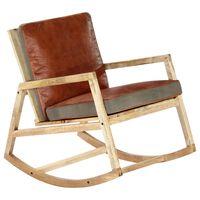 vidaXL Καρέκλα Κουνιστή Καφέ από Γνήσιο Δέρμα και Μασίφ Ξύλο Μάνγκο