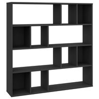 vidaXL Διαχωριστικό/Βιβλιοθήκη Μαύρο 110x24x110 εκ. από Μοριοσανίδα