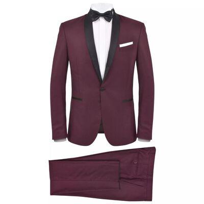 vidaXL Κοστούμι Ανδρικό Black Tie/Σμόκιν 2 Τεμαχίων Μπορντό Μέγεθος 48