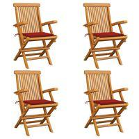 vidaXL Καρέκλες Κήπου 4 τεμ. από Μασίφ Ξύλο Teak με Κόκκινα Μαξιλάρια