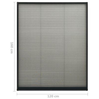 vidaXL Σήτα Παραθύρου Πλισέ Ανθρακί 120 x 160 εκ. από Αλουμίνιο