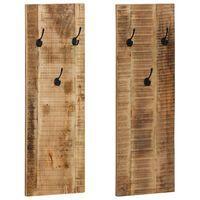 vidaXL Κρεμάστρες Τοίχου 2 τεμ. 36 x 110 x 3 εκ. από Μασίφ Ξύλο Μάνγκο