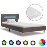 vidaXL Κρεβάτι με LED Χρώμα Taupe 90 x 200 εκ. Υφασμάτινο με Στρώμα