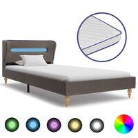 vidaXL Κρεβάτι με LED Taupe 90 x 200 εκ. Υφασμάτινο με Στρώμα Αφρού