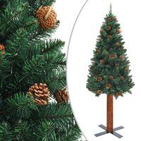 vidaXL Χριστουγεννιάτικο Δέντρο Slim Πράσινο 150 εκ. Ξύλο/Κουκουνάρια