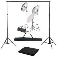 vidaXL Κιτ Φωτισμού Φωτογραφικού Στούντιο με Φώτα και Φόντο