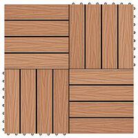 vidaXL Πλακάκια Deck 11 τεμ. Ανάγλυφα Χρώμα Teak 30 x 30 εκ. 1 μ² WPC
