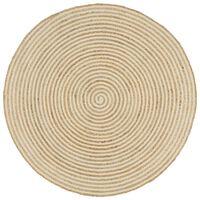 vidaXL Χαλί Χειροποίητο με Λευκό Σπιράλ Σχέδιο 150 εκ. από Γιούτα