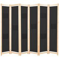 vidaXL Διαχωριστικό Δωματίου με 6 Πάνελ Μαύρο 240x170x4 εκ. Υφασμάτινο
