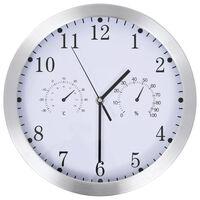 vidaXL Ρολόι Τοίχου Λευκό 30 εκ. Quartz με Υγρόμετρο και Θερμόμετρο