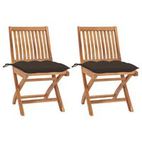 vidaXL Καρέκλες Κήπου 2 τεμ. από Μασίφ Ξύλο Teak με Taupe Μαξιλάρια