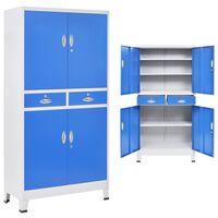 vidaXL Ντουλάπα Γραφείου με 4 Πόρτες Γκρι/Μπλε 90x40x180 εκ. Μεταλλική
