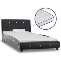 vidaXL Κρεβάτι Μαύρο 90 x 200 εκ. από Δερματίνη με Στρώμα Αφρού Μνήμης
