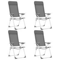 vidaXL Καρέκλες Camping Πτυσσόμενες 4 τεμ. Γκρι από Αλουμίνιο